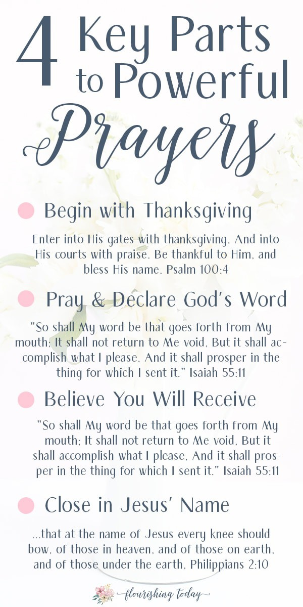 Do you want to pray powerful prayers? Whether you're just beginning to pray to God or have praying for years, this 4 step prayer structure will help your prayers to be more powerful and intentional. Don't forget your FREE printable bookmark! #freeprintable #prayer #powerfulprayer #pray #scriptures