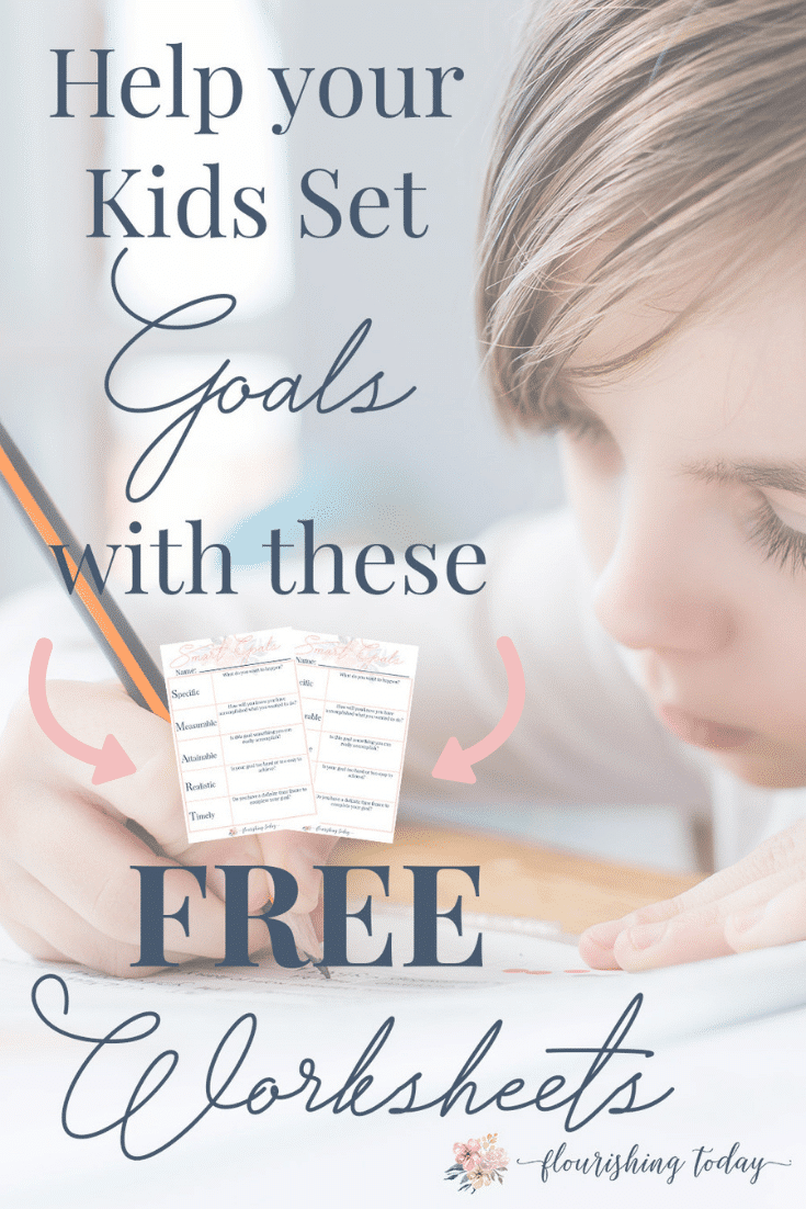 Ready to start setting goals with your kids? Grab your free goal setting worksheets and you'll start start setting goals with kids that they can achieve! #settinggoals #goals #kids #smartgoals #freeprintable