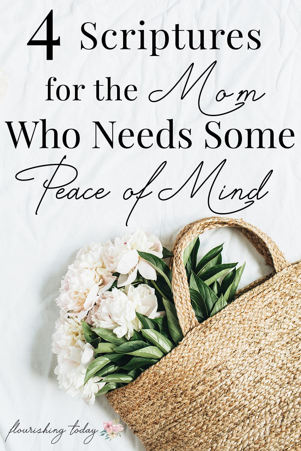 Are you overwhelmed as a mom? Do you need scriptures for peace of mind? Here are 4 scriptures to give you peace of mind as a mom! #freeprintable #motherhood #peacescriptures #peace