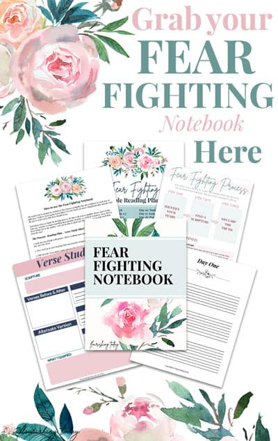 Are you ready to fight the fears in your life? In this FEAR FIGHTING Notebook you'll have a 30 day Bible Reading Plan to fight fear, along with worksheets, journal sheets, scripture cards and more! Grab yours today and learn how to fight fear in your life! #fear #overcomefear #fearless #fightfear